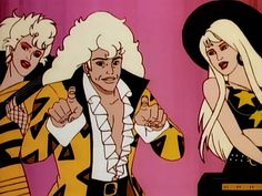 When the Stingers (Rapture, Riot, and Minx) were introduced in they may have had the biggest, blondest hair in Jem history. (Via WikiCommons) Jem Cartoon, Female Cartoon Characters, Cartoon Kids, Old Cartoons, Disney Cartoons, Jem Et Les Hologrammes, 80 Tv Shows, Jem And The Holograms, 1980s