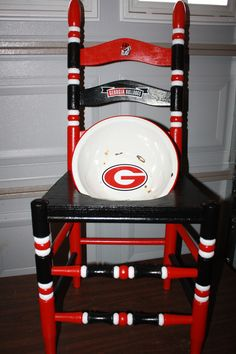 Ga. team ladder back chair with enameled bowl for planter indoor or porch use