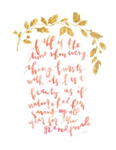 Fall/autumn watercolor quote poster painting