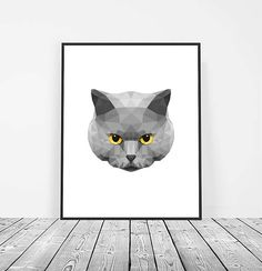 Low Poly Cat Print, Digital Download, Geometric Printable Art, Cat  Art, Animal Print