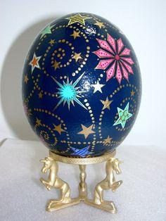 Hand Painted Ostrich Egg, Starry Night, Dark Blue,