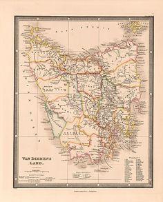 Van Diemen's Land, Cellophane Wrap, Vintage Maps, Pigment Ink, Tasmania, Stretched Canvas Prints, Lovers Art, Printmaking, Landing