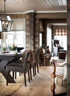 Masculine Dining Room Design Inspiration - There are lots of ways to personalize a dining room. Therefore, if you want to luxuriously decorate your dining space, look at these pics for a small . by Joey Cabin Homes, Log Homes, Cabin Interiors, Dining Room Design, Cabana, Home Interior Design, Room Interior, Interior Ideas, House Design