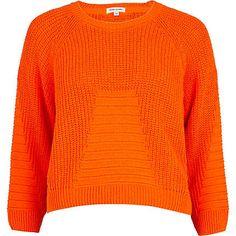 Orange rib geometric pattern cropped jumper - River Island price: £25.00