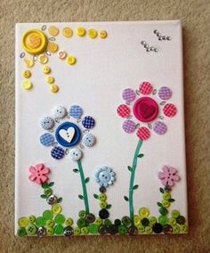 Button On Canvas Art Easy Arts And Crafts Ideas
