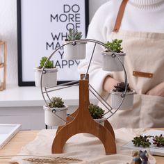 6+1 Original Decorative White Ceramic Flowerpot Succulent Plant Pot 6 Flower Planter with 1 Bamboo Ferris Wheel Stand Flower Pot