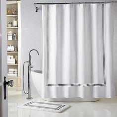 Wamsutta® Baratta Stitch 72-Inch x 72-Inch Shower Curtain in White/Black