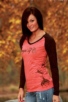 Cowgirl Tuff pink Brown Baseball T-Shirt