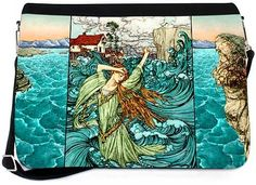 Messenger bag with TWO zip-off printed flaps. Undine the Mermaid  (Rackham) and  Fairies by Night  (Rackham) to swap as the mood takes you