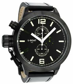 U-Boat Black-Green Dial Chronograph Black Leather Mens Watch 300 U-Boat. $695.00. Chronograph Display. Water Resistance : 5 ATM / 50 meters / 165 feet. Quartz. Black Calfskin Strap. Round Pvd Stainless Steel Case. Save 58%!