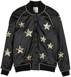 ZOE KARSSEN Star All Over Bomber Jacket - Black