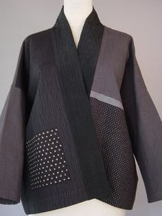 Classic Kimono Vest in Soft Grays | This jacket has accents of Japanese printed ikat patterns and intensely stitched line.