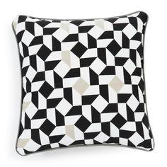 Housse de coussin en coton blanche/noire 40 x 40 cm EME