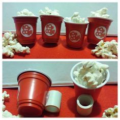 "Popcorn neckerchief slide for cub scouts! Super inexpensive and easy! Red solo cup ""shot glass"", inch pvc pipe cut into inch pieces, hot glue, popcorn sticker and popcorn! Popcorn Crafts, Popcorn Theme, Cub Scout Crafts, Cub Scout Activities, Cub Scouts Bear, Boy Scouts, Boy Scout Popcorn, Troop Beverly Hills, Diy Slides"