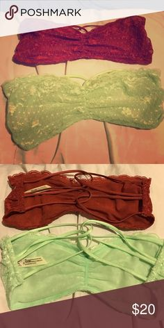 💋SET OF 2💋Free people bandeaus 💕 Brand new w/o tags (never worn or tried on). Size small. One is a a pretty light green and the other is an edgy rustic burnt orange. Both are covered in gorgeous lace ❤️ Free People Intimates & Sleepwear Bandeaus