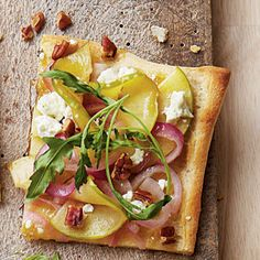 Apple Goat Cheese Pizza with fig preserves and pecans, what's not to like?