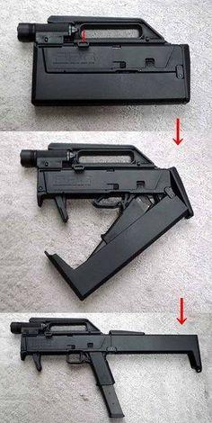 Magpul (Folding Machine Gun folding pistol based on a Glock 18 Weapons Guns, Guns And Ammo, Rifles, Materiel Camping, Folding Machine, Submachine Gun, Fire Powers, Cool Guns, Assault Rifle