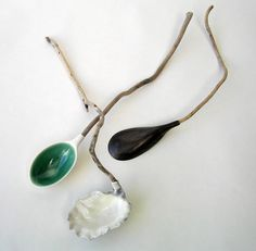 Helen Earl, Sea, Oyster and Mussel spoons. Porcelain and Driftwood