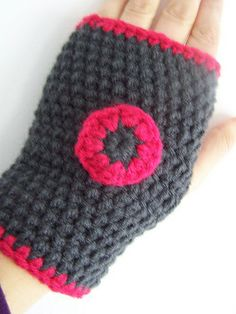Crochet mittens. Obviously I'd use more masculine colors. :)