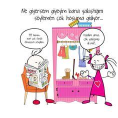 Elbise ve kadınlar arasında aşk ilişkisini erkekler anlayamaz. Çanta ile ayakkabı uysa kemer uymaz sonra çıkar yenisini giy. Hayat çok zor :)