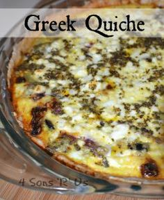 You searched for greek quiche - 4 Sons 'R' Us Breakfast Quiche, Egg Recipes For Breakfast, Breakfast Items, Breakfast Dishes, Best Breakfast, Breakfast Casserole, Greek Quiche Recipe, Quiche Recipes, Luncheon Recipes