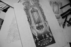 Seance table illustration for Tube Cult Fest 2014 gigposter