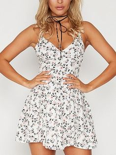 Shop White Wrap Front Floral Print Cami Fit and Flare Dress from choies.com .Free shipping Worldwide.$15.9