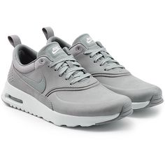 Nike Air Max Thea Premium Leather Sneakers ($115) ❤ liked on Polyvore featuring shoes, sneakers, grey, nike shoes, gray shoes, leather shoes, leather footwear and grey shoes