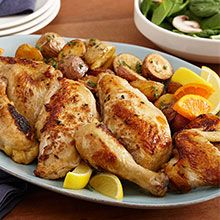 For tender, juicy roasted chicken that's never overcooked, try this wet brined chicken recipe flavored with fennel and sweet citrus. Brining locks the juices in and pan-roasting the chicken yields extra crispy skin! Brined Chicken Recipe, Roasted Chicken, Fried Chicken, Chicken Recipes At Home, Roasting Pan, Stuffed Whole Chicken, Fennel, Weeknight Meals, Tasty Dishes