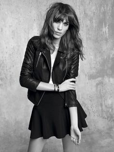 ★ //» Alexa Chung.  Love this jacket and the a line skirt.