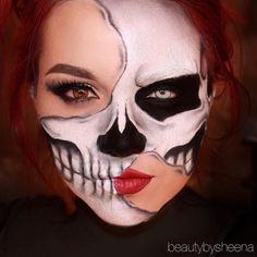 Halloween – Make-up Schminke und Co. Halloween – Make-up Schminke und Co. Half Face Halloween Makeup, Clown Halloween, Half Face Makeup, Halloween Makeup Looks, Halloween Skeleton Makeup, Half Skull Makeup, Makeup Clown, Scary Makeup, Hallowen Schminke