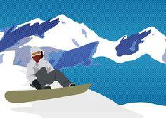 Snowboarding Illustration by Crystal Kent, via Behance