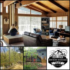 Shanty Creek Treehouse sleeps eight with a full kitchen, large bedrooms, a private wooded view, and indoor pool and hot tub access!  #bookdirect #itscabintime #travelmichigan #bellaire #cabininthewoods #skilodge