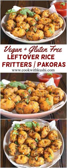Leftover Rice Fritters / Pakoras are crispy and crunchy, irresistibly delicious snack prepared in less than 30 minutes. This is one of the best way to use any left over cooked rice. The recipe is customizable, vegan and gluten free.  #bhgfood #buzzfeedfoo