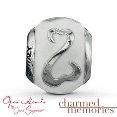 Charmed Memories Open Hearts Enamel Charm Sterling Silver