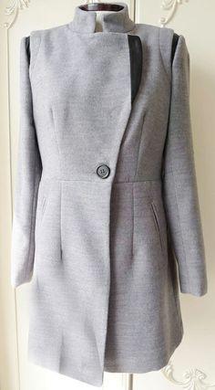 Grey Long Sleeve Stand Collar Contrast PU Coat US$35.99