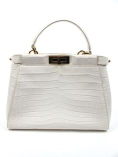 a0ad629e38 Fendi Peekaboo Medium White Crocodile with Gold Hardware and Shoulder Strap  76-1