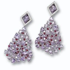 Pair of amethyst, ruby and diamond earclips, Michela Rosa | Lot | Sotheby's