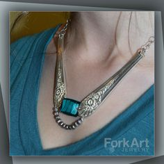 Silverware necklace with a glass bead and silver by ForkArtJewelry