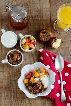 Keeping things healthy with & fresh and Muesli, Fresh Fruit, Cobb Salad, Muffin, Burgundy, Banana, Restaurant, Healthy, Food