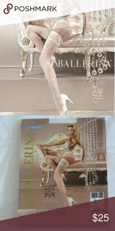 """Women Stocking, tights, and pantyhose Studio collants ballerina """" CHARDONAY""""  Bridal White stay ups with elegant medallion embroidery on the leg and a finishing lace design at the top of the stocking Studio Collants Ballerina Accessories Hosiery & Socks"""