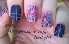 Matte dry brush & striping tape #nailart - For more easy #nail ideas please subscribe to my YouTube channel: https://www.youtube.com/user/LifeWorldWomen Thank you! :)