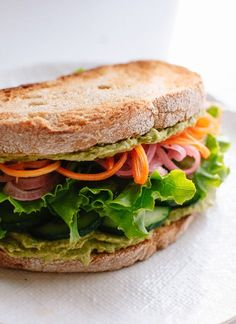 Healthy vegan hummus sandwich recipe (my favorite sandwich!)- http://cookieandkate.com