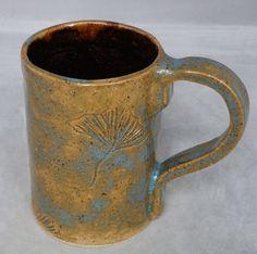 Stoneware  ExtraLarge Coffee MUG GINGKO Design in by LisaMelitaArt, $25.00