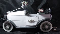 Handmade Keepsake Wedding Car Card. A beautiful vintage car all made from card, paper roses and ribbon.