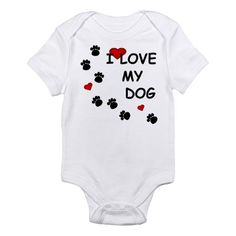 I Love my Dog Paw Prints Infant Bodysuit