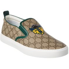 Gucci Gucci Gg Supreme Feline Canvas Slip-On Sneaker ($598) ❤ liked on Polyvore featuring men's fashion, men's shoes, men's sneakers, shoes, beige, mens canvas shoes, mens canvas sneakers, gucci mens shoes, mens slip on sneakers and mens slip on shoes