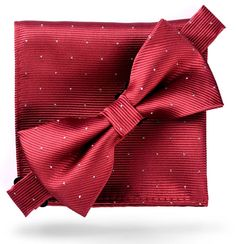 Burgundy Red  Glitter Dots  - Bow Tie and Pocket Square Matching Set 38f41cd5d