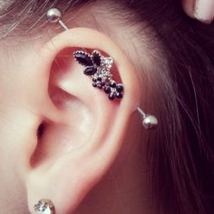Imgs For > Industrial Ear Piercing Arrow Full Ear Piercings, Spiderbite Piercings, Barbell Piercing, Piercing Tattoo, Industrial Barbell, Industrial Piercings, Industrial Bars, Warm Industrial, Industrial Closet