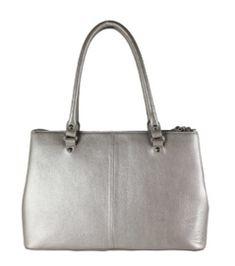 """By LouLou Schouder (werk) tas 13"""" Medium Pearl Shine Grey"""